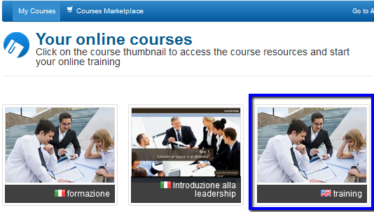 Your online Courses area