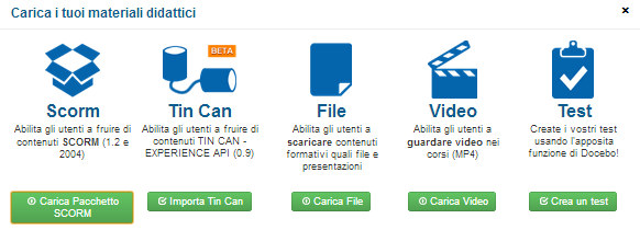 Upload your training materials including Tin Can