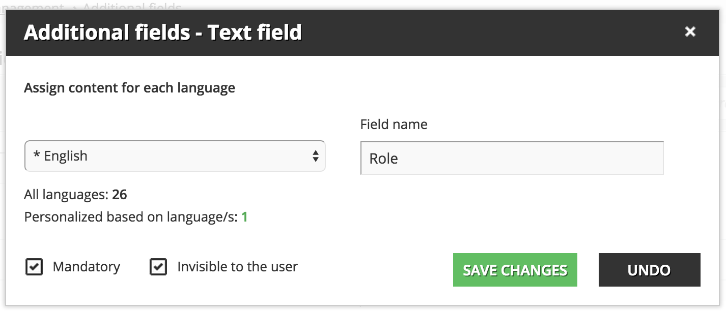 user Additional fields New field