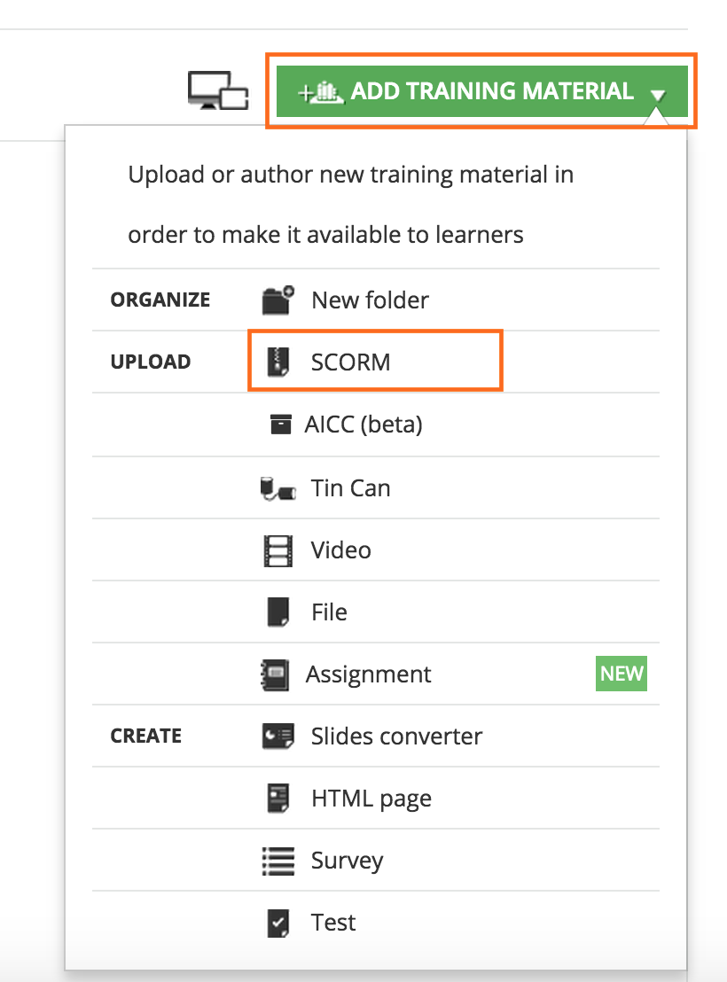 On The Following Page Select UPLOAD FILE To Choose SCORM File From Your Computer
