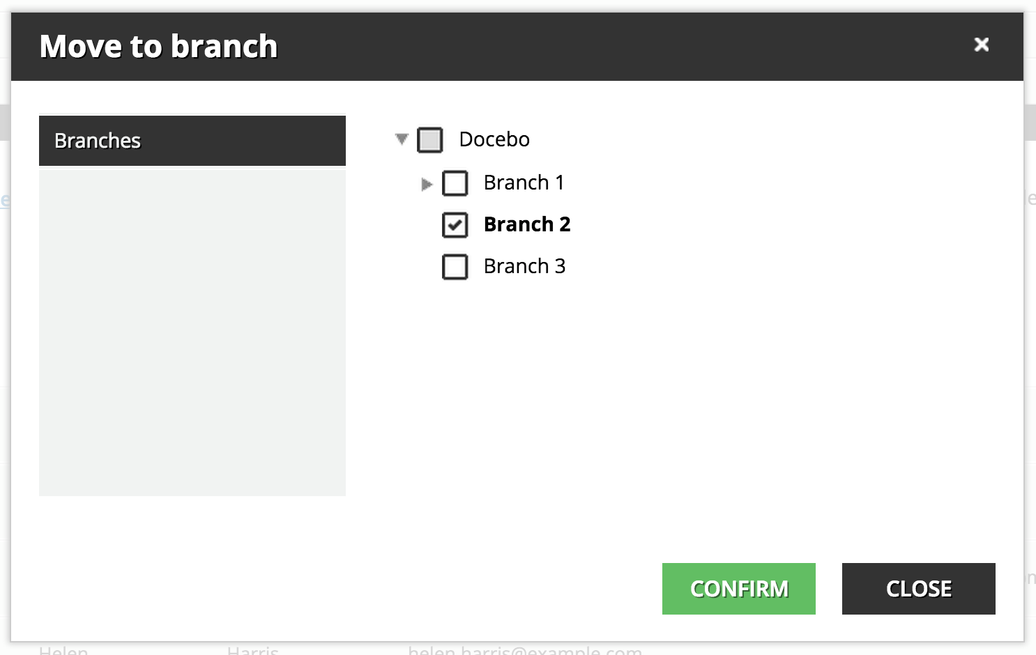 organize users Move to branch - CONFIRM