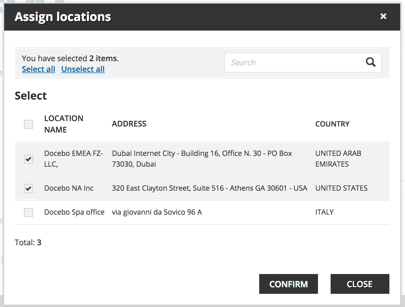 power user Locations manager