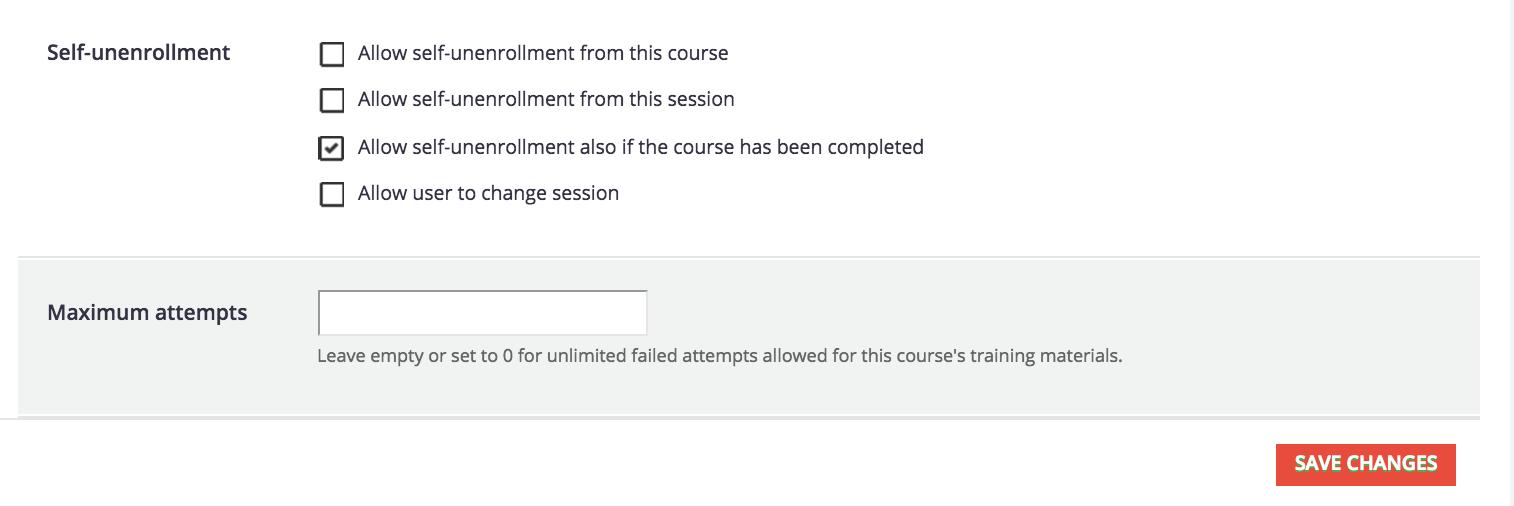 course advanced self unenrollment