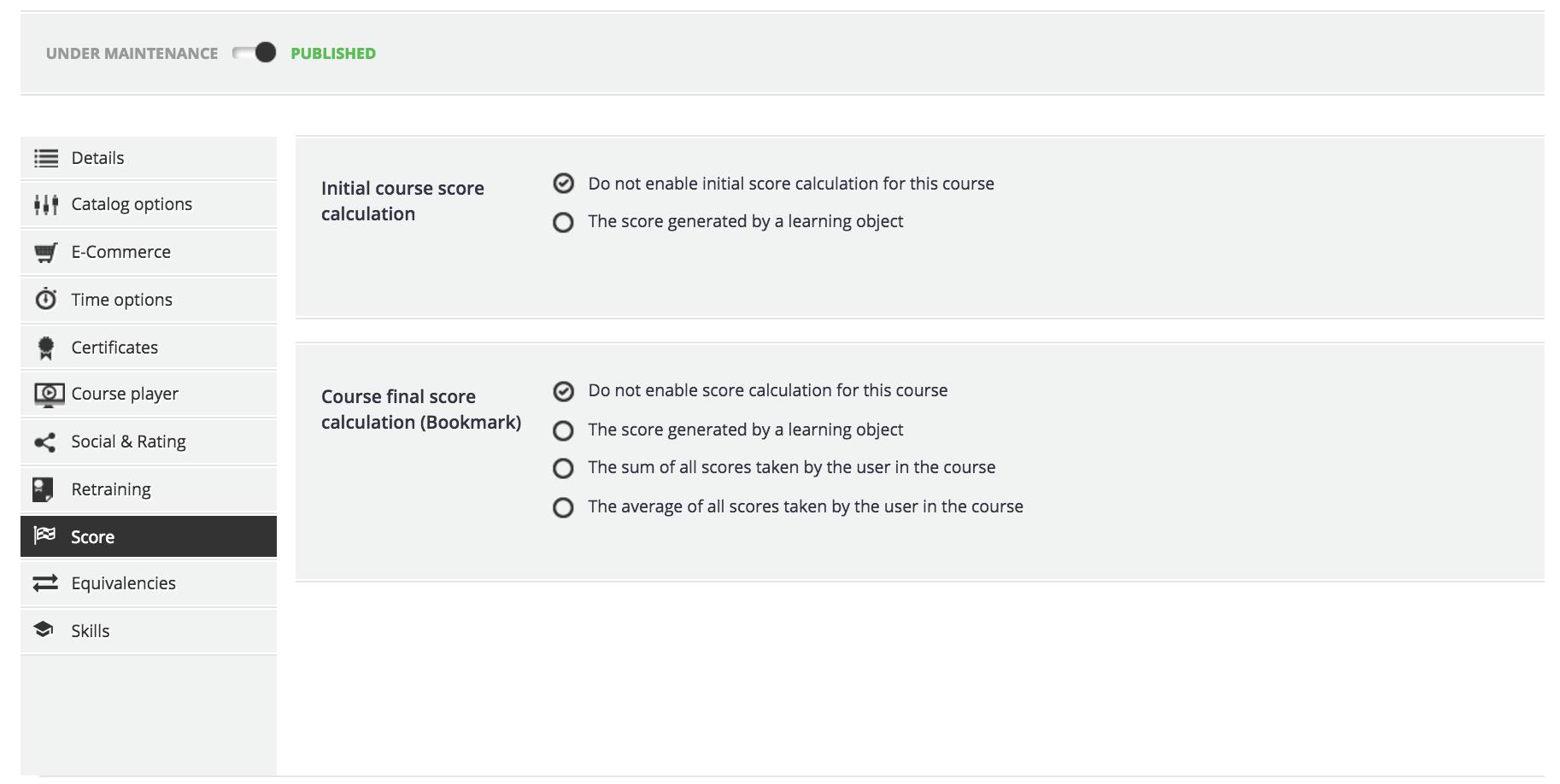 course advanced options score