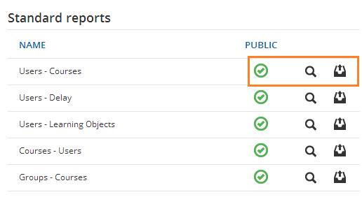 Standard reports: manage menu