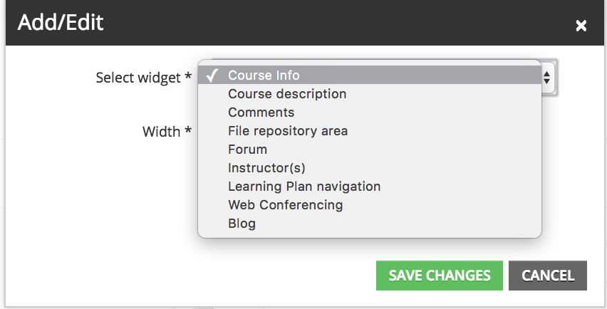 add course widget