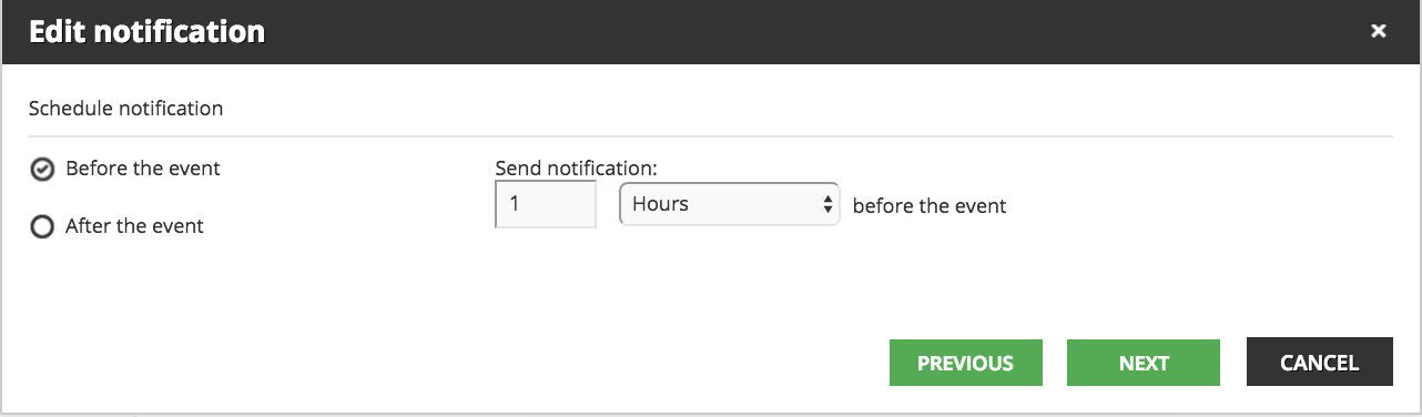 notifications before