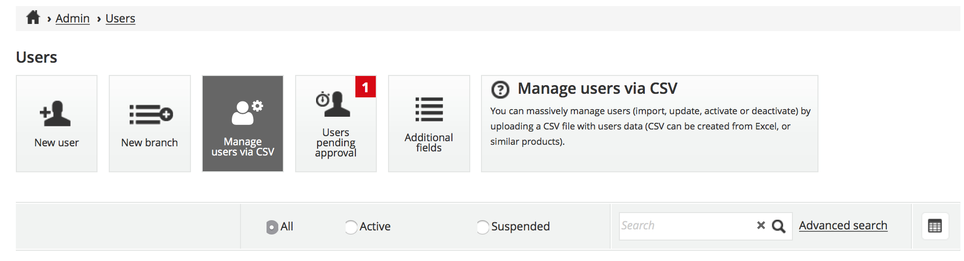 manage users button