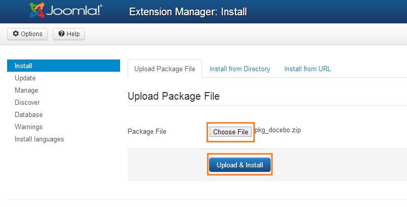 Extension: upload and install