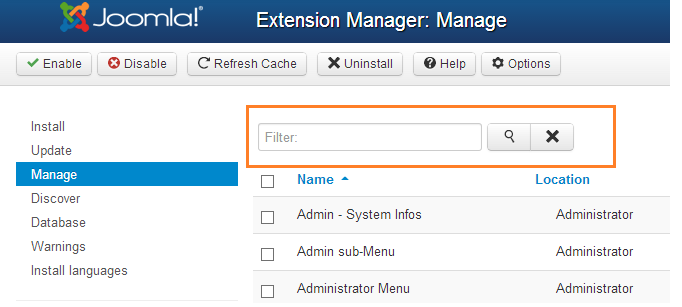 Extension Manager: Filter