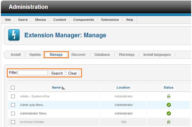 Extension Manager: Mange