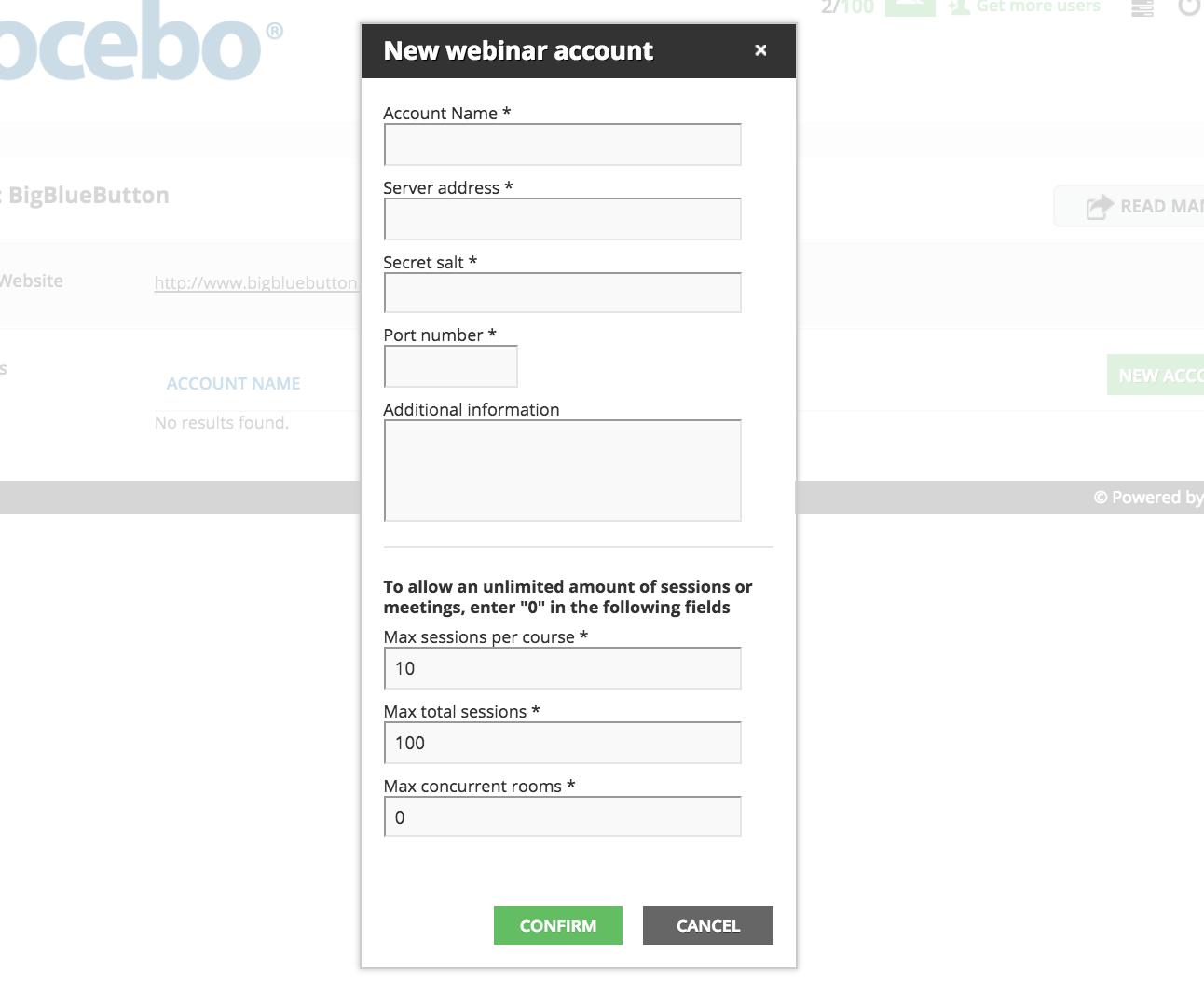 bigbluebutton new webinar account