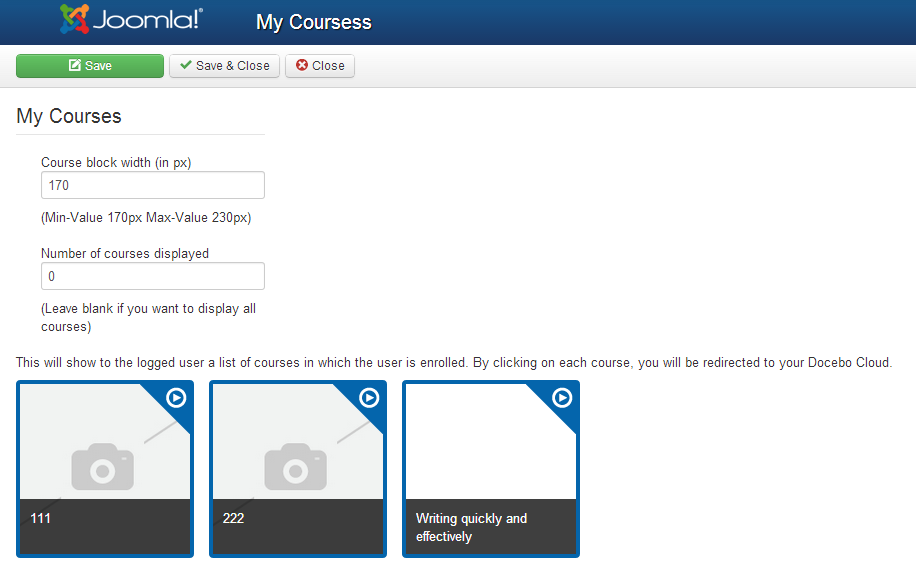 Edit my courses block
