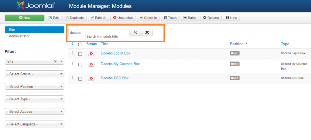 Module manager: Modules