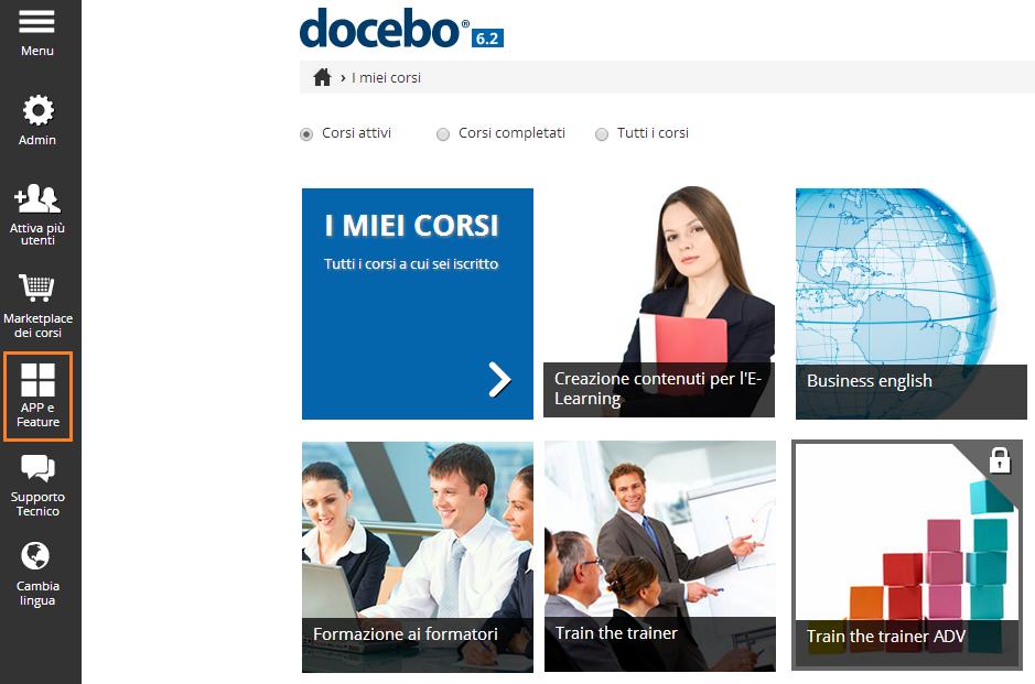 Docebo: APP e Feature area