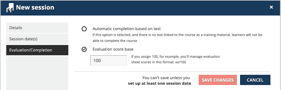 new session evaluation/completion