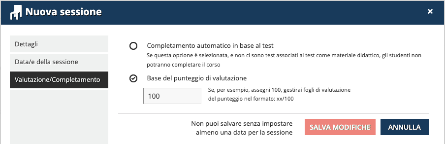nuova sessione valutazione/completamento