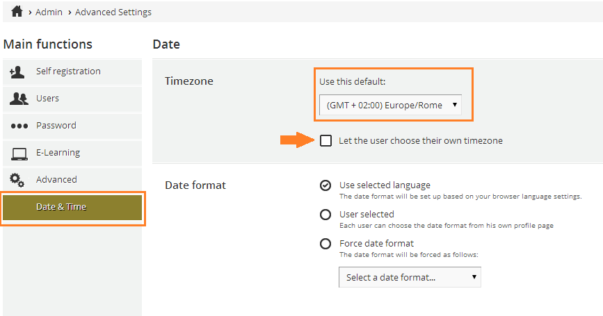 How to manage the timezone option: date and time