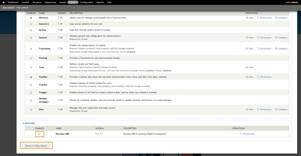 Docebo for Drupal: enable docebo