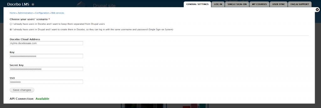 Docebo for Drupal: general settings