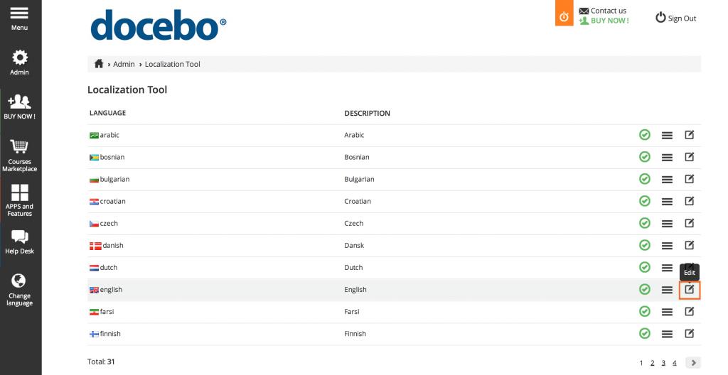 Localization tool: default language