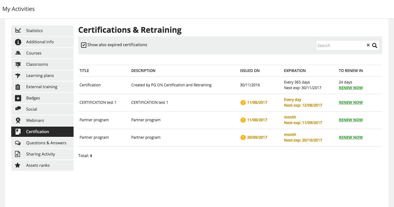 my activities certifications