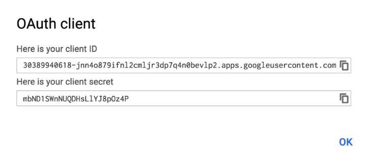 Gmail OAuth client