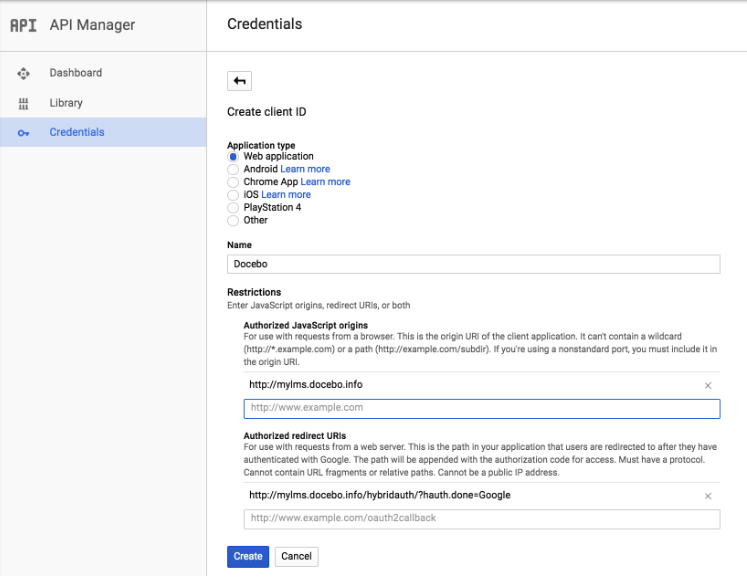 Gmail create client ID