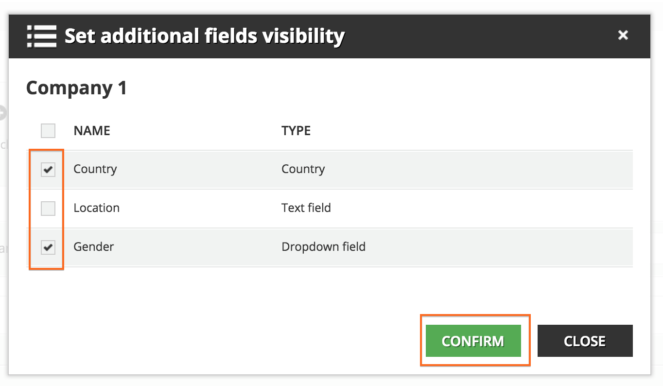 user Additional fields Fields visibility