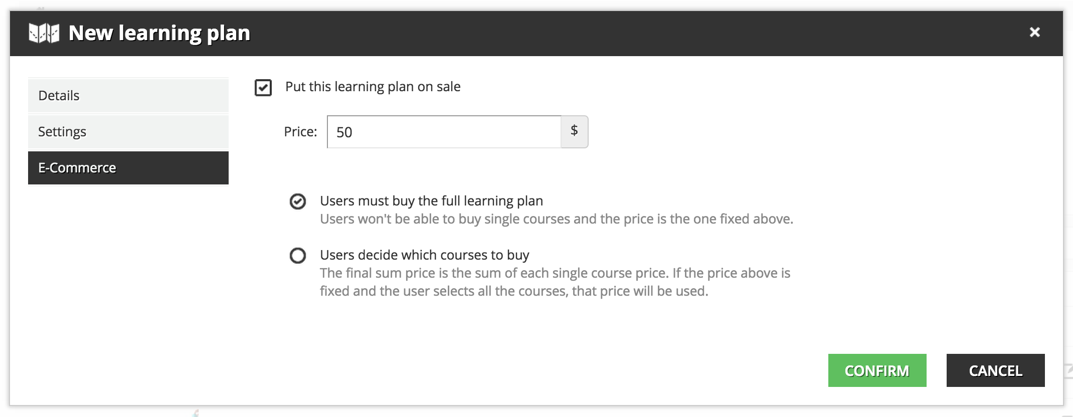 Learning plan ecommerce