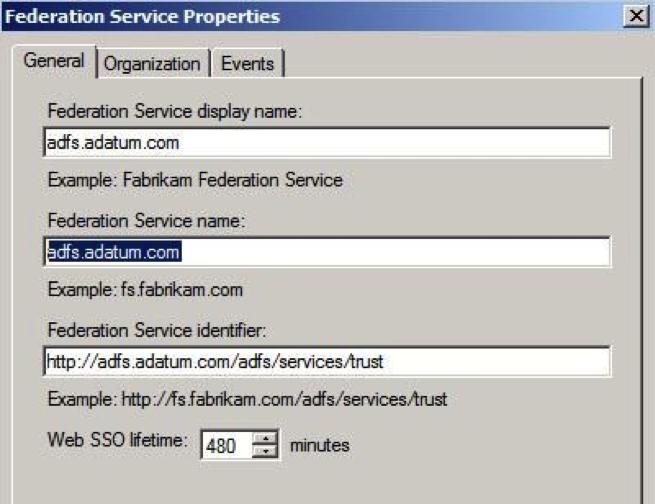 ADFS federation service properties