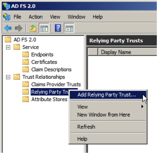 ADFS add relying party trust
