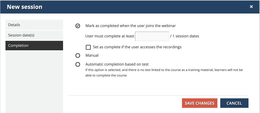 webinar new session completion