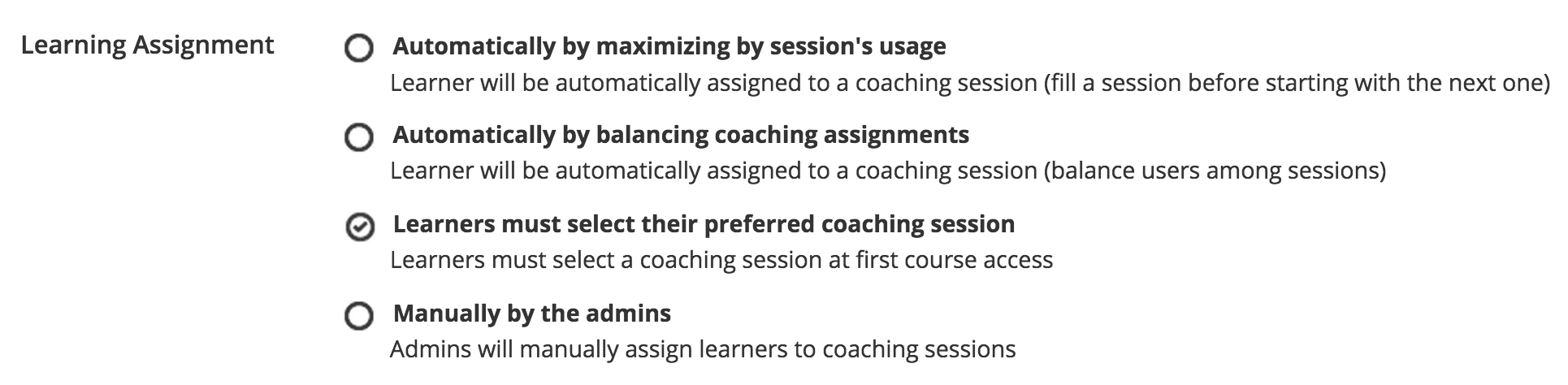 Coaching: assignments settings