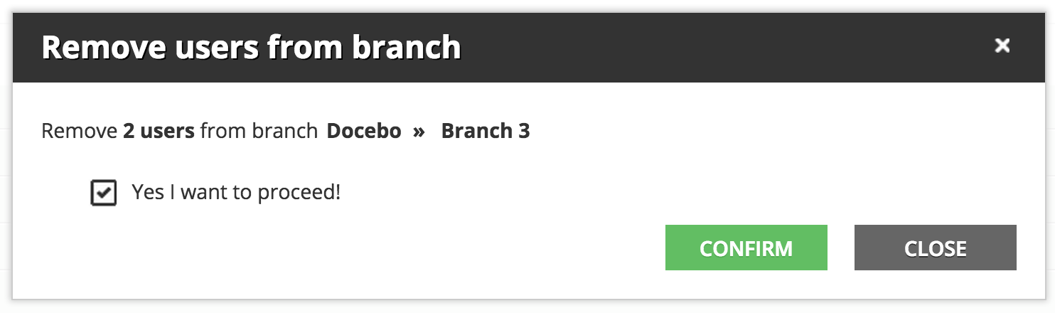 organize users Remove 2 users from branch