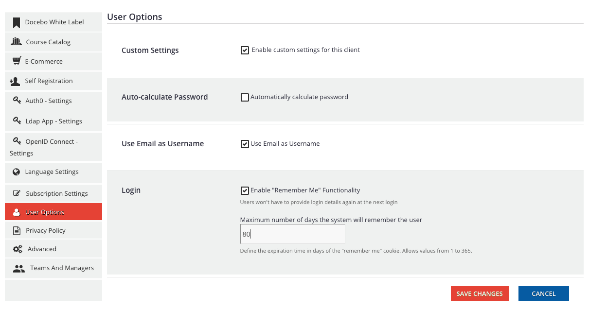 multidomain user options