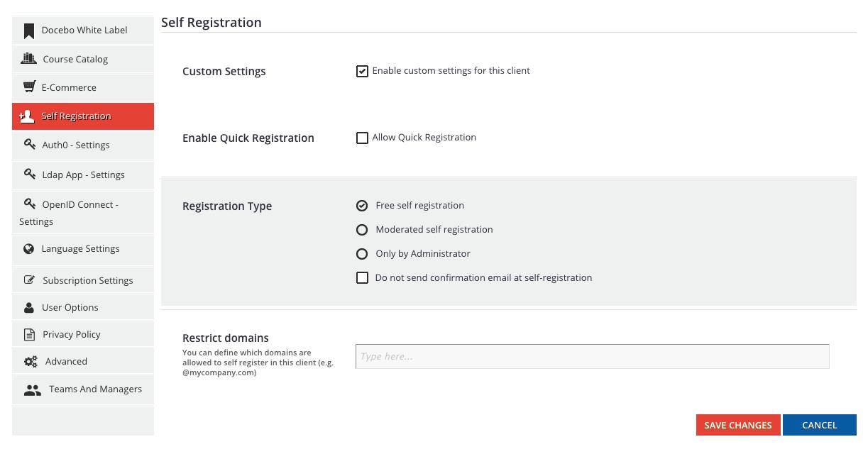 multidomain self registration