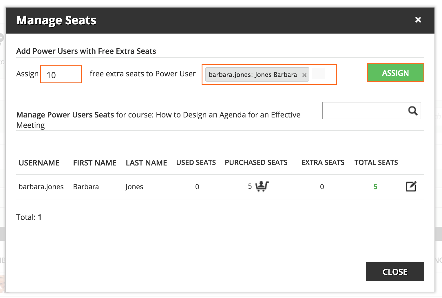 power user Assign seats