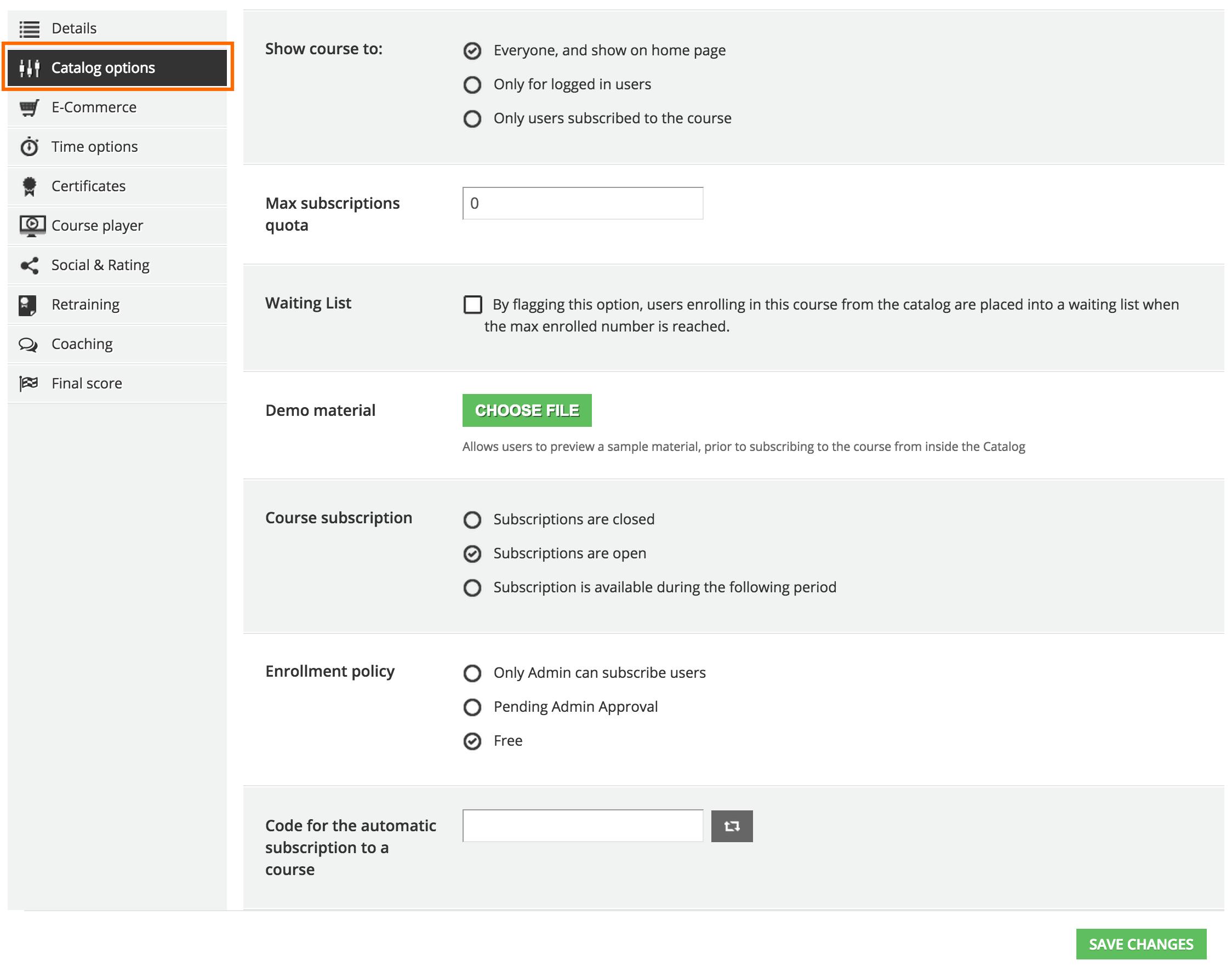 advanced settings Catalog options