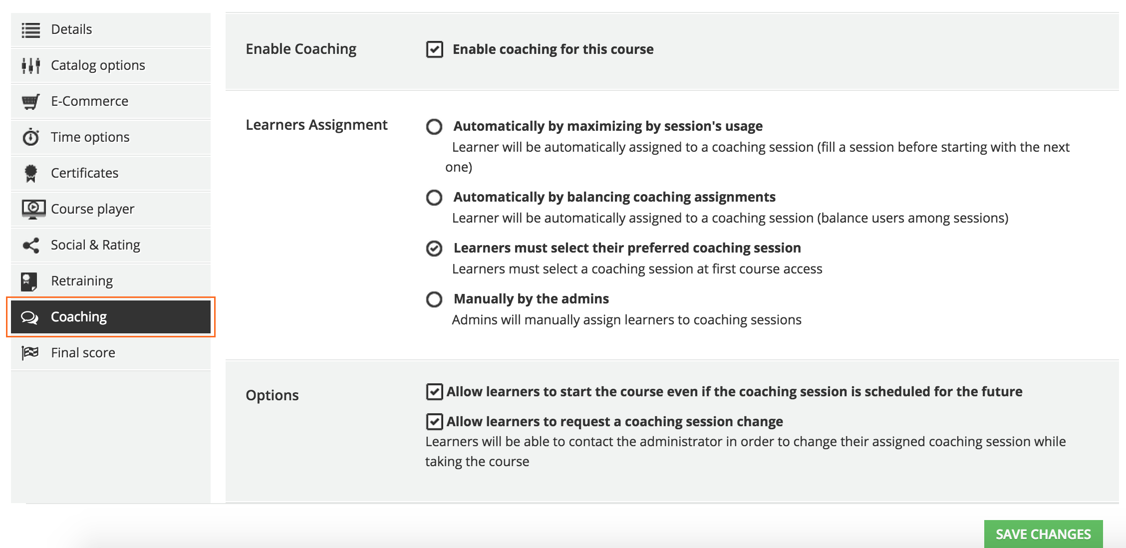 advanced settings Coaching