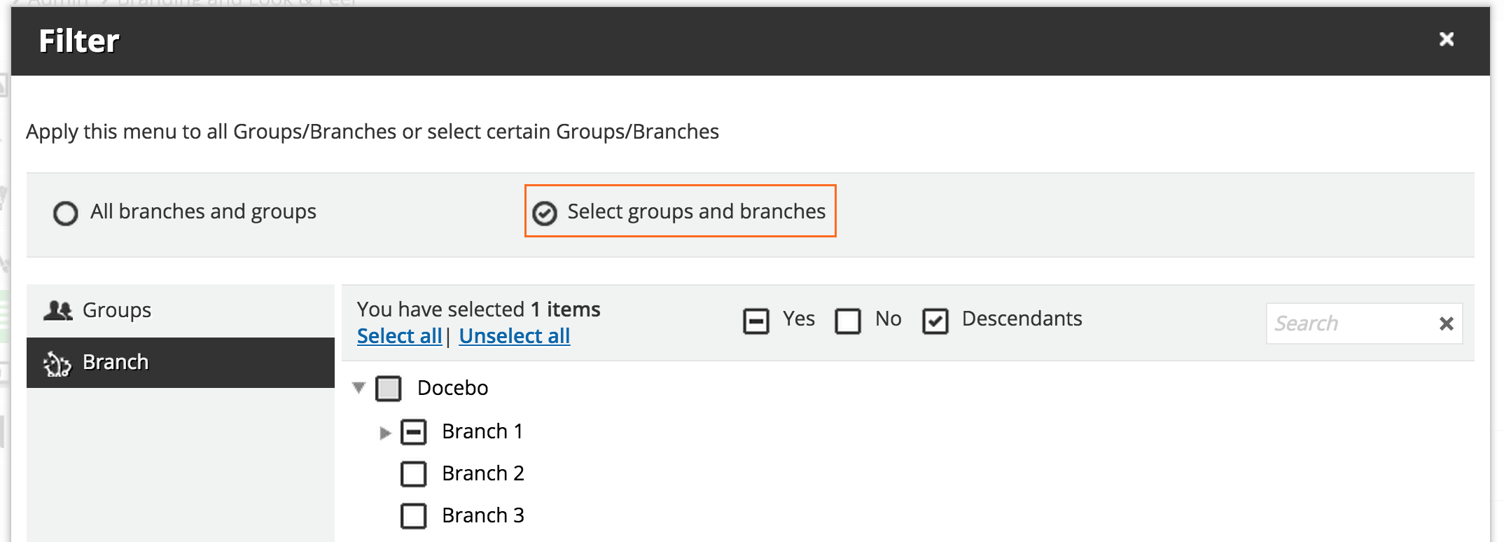 branding Select groups and branches