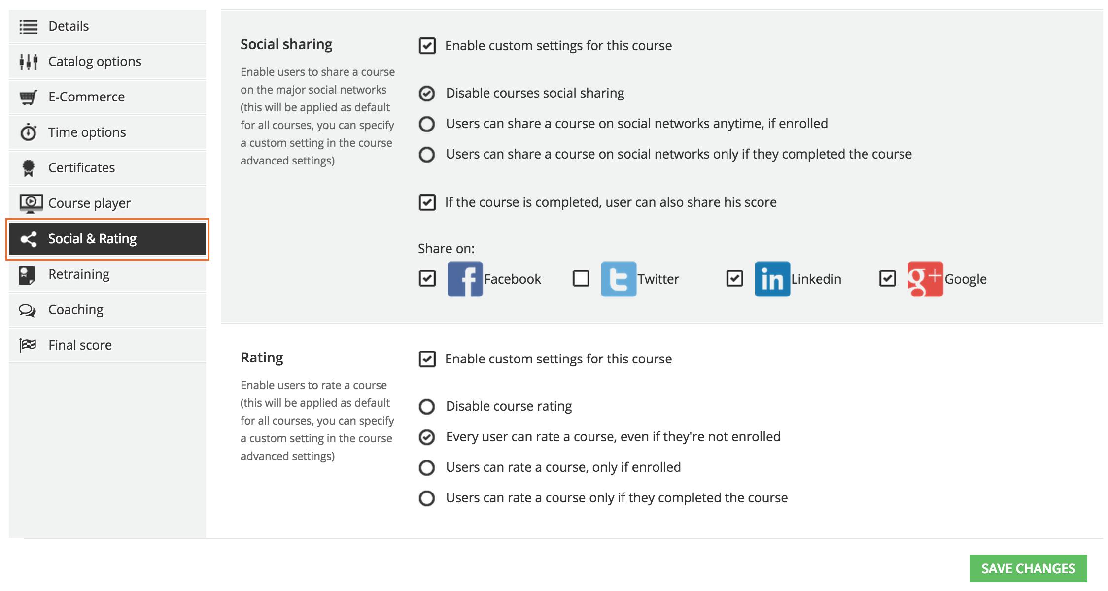 advanced settings Social&Rating