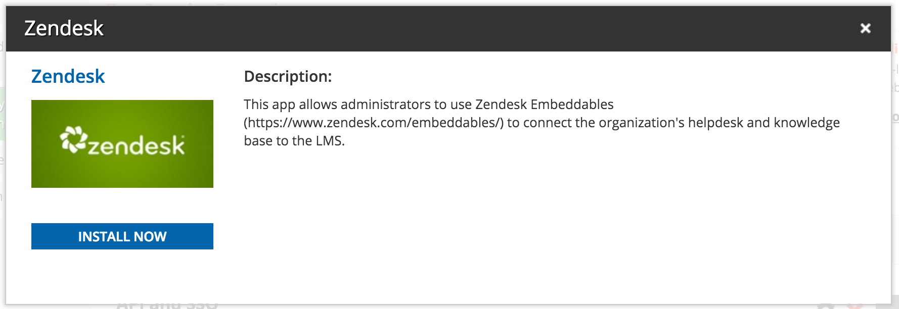 Install now Zendesk