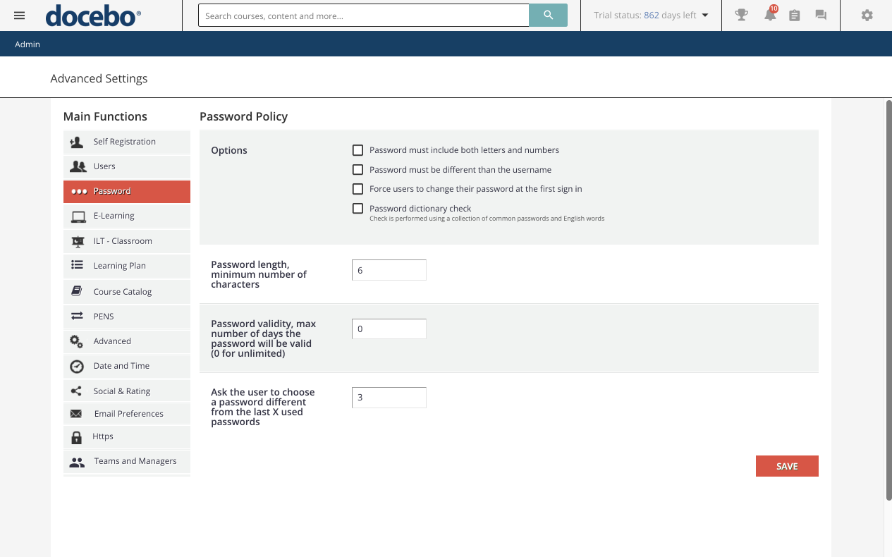 Advanced Settings Password