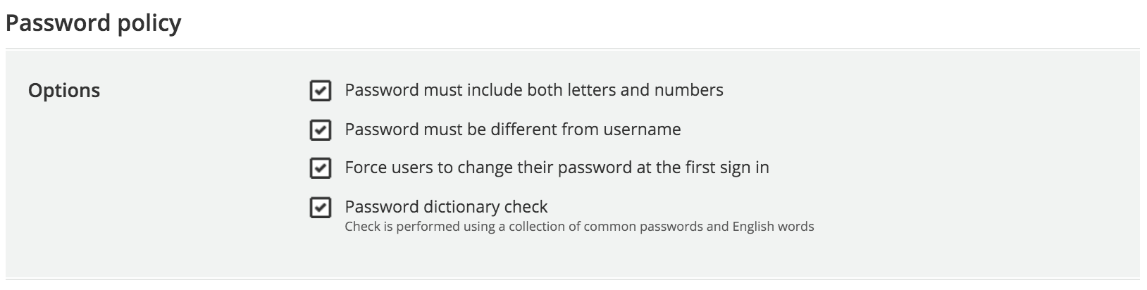Password policy check