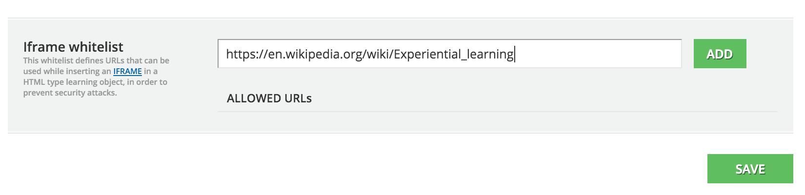html page Advanced settings