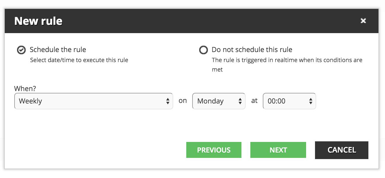 schedule the rule