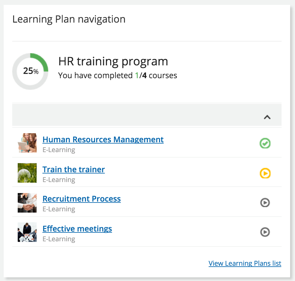 learning plan navigation widget