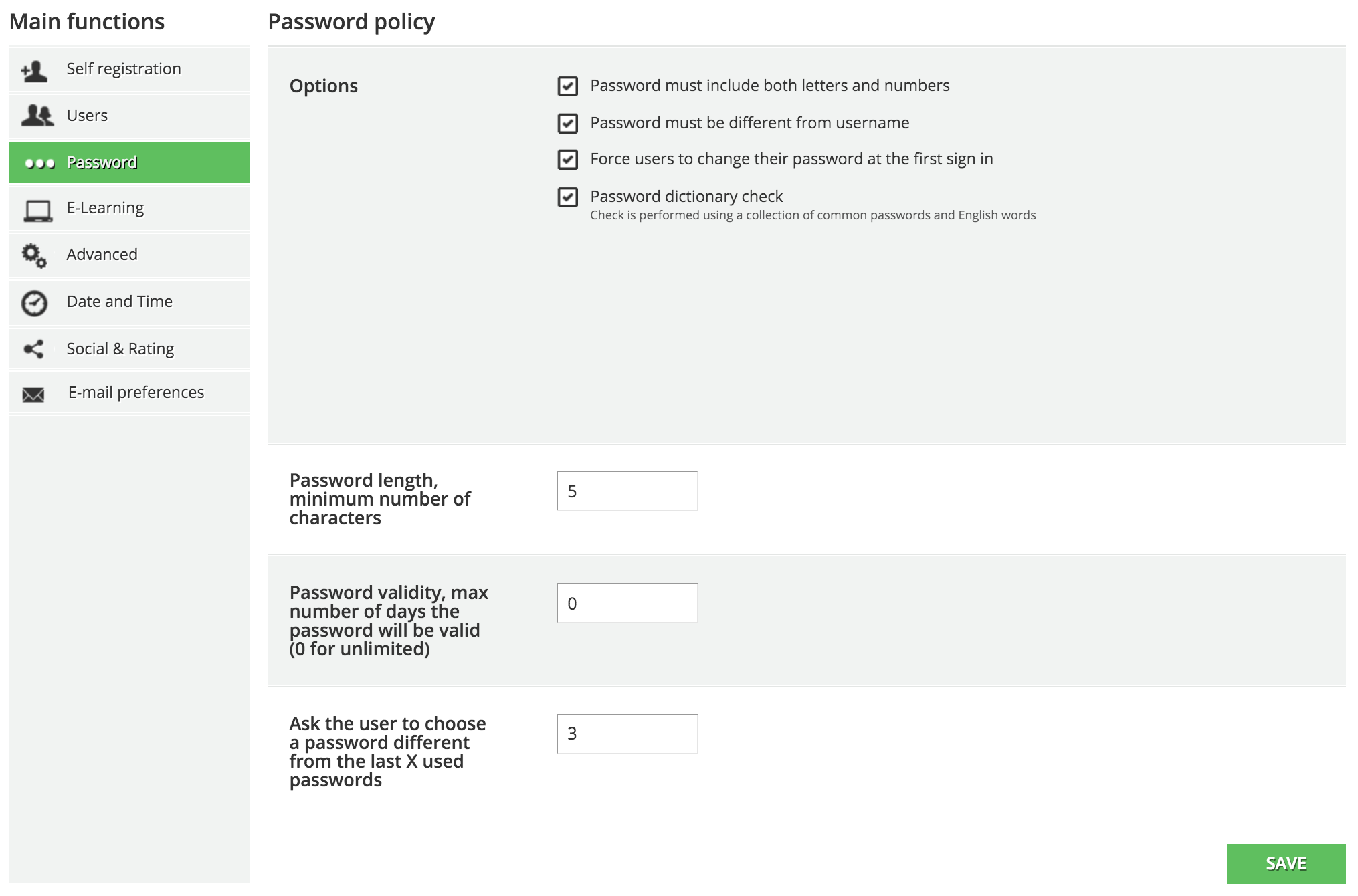 new user Password Policy