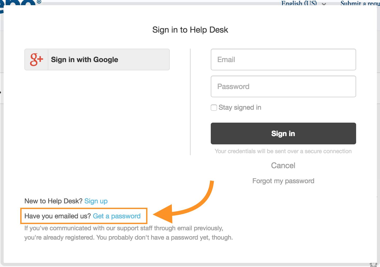 help desk get a password